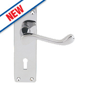 Carlisle Brass Victorian Scroll External Door Handle Pack Polished Chrome