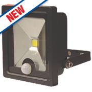 LAP LED Slimline Floodlight with PIR Black 10W