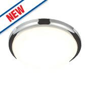 Saxby Delaware LED Flush Ceiling Light Chrome 20W