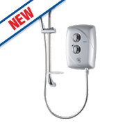 Triton T80 Easi-Fit Manual Electric Shower Satin Silver 9.5kW