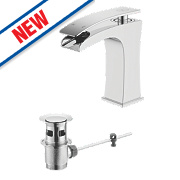 Watersmith Como Bathroom Waterfall Basin Mixer Tap w/ Pop-Up Waste