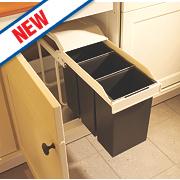 Hailo Multi-Box Household Waste Separation Bins White / Grey 3 x 10Ltr