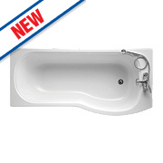 Ideal Standard P-Shape Shower Bath Right Hand Acrylic No Tap Holes 1700mm