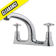 Swirl Sink-Mounted Cross Head Deck Sink Mixer Kitchen Tap Chrome