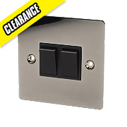 Volex 2-Gang 2-Way 10AX Switch Black Nickel Flat Plate