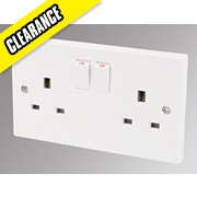 Marbo 13A 2-Gang DP Switched Plug Socket White
