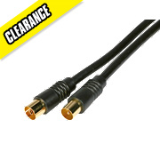 Coaxial Lead Plug to Socket Black 2m