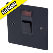 Volex 20A DP Switch + Neon Blk Ins Matt Black Flat Plate