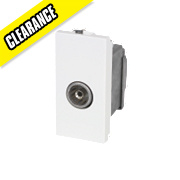 Screened Single IEC Coax Outlet Module White