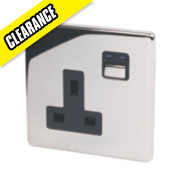1G 13A Single Pole Switched Socket Chrome with Black Insert