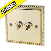 2-Gang 2-Way 6A Toggle Switch Georgian Brass