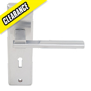 Jedo Delta Lever on Backplate Door Handle Pair Satin Chrome