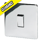 Crabtree 10AX Intermediate Switch Pol Chrome Flt Plate