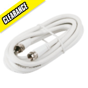 Screened Coaxial Lead F Plug to F Plug White 2m