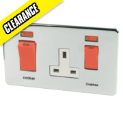 Crabtree 45A DP Switch 13A Socket + Neon Wht Ins Pol Chr