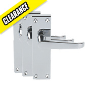 Short Back Victorian Straight Door Handle Pack Pair Polished Chrome