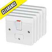 MK Logic Plus 13A DP Switched Fused Connection Unit White Pack of 5