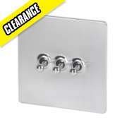 LAP 3-Gang 2-Way 10AX Toggle Switch Flat Plate Brushed Chrome