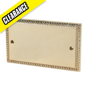 2-Gang Blank Plate Georgian Brass