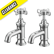 Fosse and Stratton Greenwich Bathroom Basin Pillar Taps Pair