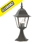 Oxford Post Light Black Brushed Gold Effect 60W