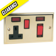 45A DP Switch / 13A Socket Victorian Brass