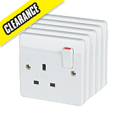 MK Logic Plus 13A 1-Gang DP Switched Plug Socket White Pack of 5