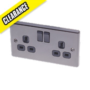 LAP 13A 2-Gang DP Switched Plug Socket Black Nickel