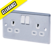 LAP 13A 2-Gang DP Switched Plug Socket Stainless Steel