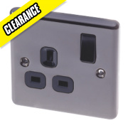 LAP 13A 1-Gang DP Switched Plug Socket Black Nickel