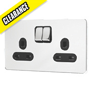 GET 2-Gang 13A Switched Socket Black Ins Polished Chrome