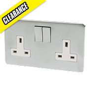 Crabtree 13A 2-Gang DP Switched Socket White Insert Brushed Chrome