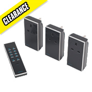 Remote On/Off Socket Kit with Li-Ion Powered Remote Control 13A Black