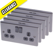 LAP 13A 2-Gang DP Switched Plug Socket Black Nickel Pack of 5