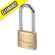 Master Lock Brass Long Shackle Padlock 40mm