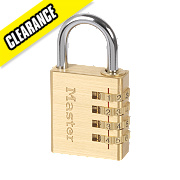 Master Lock Brass 4 Digit Combination Padlock Brass 40mm