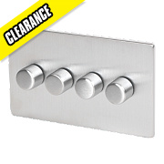 LAP 4-Gang 1-Way 250W Dimmer Flat Plate Brushed Chrome