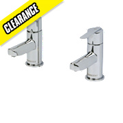 Moretti Avanti Bathroom Basin Taps Chrome-Plated Pair