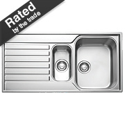 Franke Square Inset Sink S/Steel 1½ Bowl & Reversible Drainer 1000 x 175mm