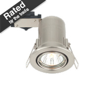 LAP Adjustable Round Mains Voltage Fire Rated Downlight Brushed Chrome 240V