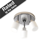 Luxor 3-Plate Bathroom Spotlight Chrome & White S15 25W