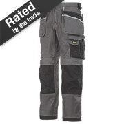 "Snickers 3212 DuraTwill Trousers Grey/Black 30"" W 30"" L"