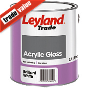 Leyland Trade Acrylic Gloss Paint Brilliant White 2.5Ltr