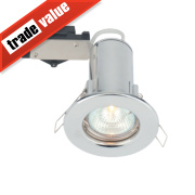 LAP Fixed Round Mains Voltage Fire Rated Downlight Polished Chrome 240V