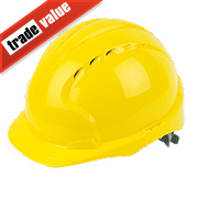 JSP EVO2 Mid Peak Slip-Ratchet Vented Safety Helmet Yellow