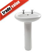 Trade Basics Basin-To-Go Full Pedestal Bathroom Basin 2 Tap Holes 570mm