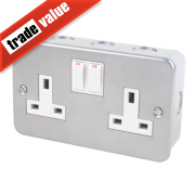 13A 2-Gang Single Pole Switch Socket Metal-Clad
