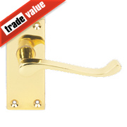 Victorian Scroll Short Backplate Door Handle Brass Effect
