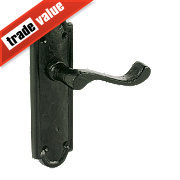 Jedo Lever Latch Door Handle Shaped Plate Black 48 x 172mm