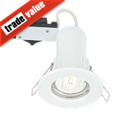 LAP Fixed Round Mains Voltage Fire Rated Downlight Gloss White 240V